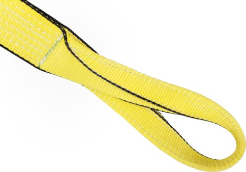 Mazzella EE1-903 Edgeguard Polyester Web Sling, Eye-and-Eye, Yellow, 1 Ply, 9' Length, 3' Width, 11' Twist Eyes, 4800 lbs Vertical Load Capacity