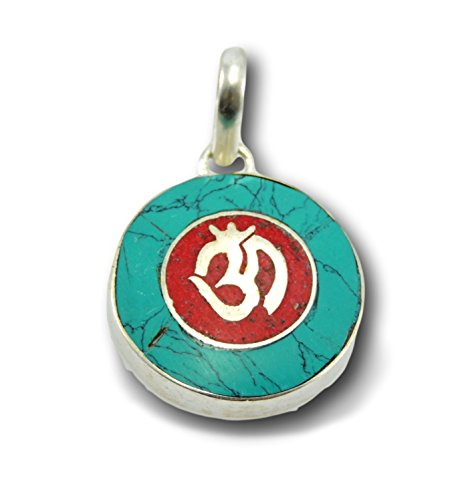 - Handmade Tibetan Turquoise and Coral Inlayed Brass Om Pendant Necklace