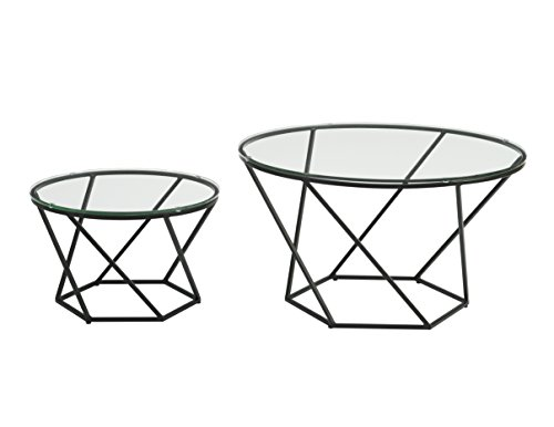 WE Furniture Geometric Glass Nesting Coffee Tables - black, Glass/Black (Coffee Black Glass)