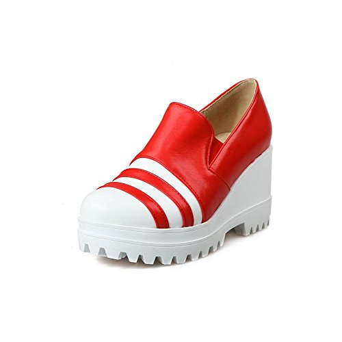Color High PU Closed Assorted Shoes Women's WeiPoot Pumps Red on Heels Toe Pull Round q8pE5FnA