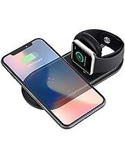 Cargador Inalámbrico Rápido , Sararoom Wireless Charger para iPhone X / 8/8 Plus, Apple Watch Serie 2 / 3 , Base de carga plegable 7.5 W / 10 W para Samsung Galaxy S9 / 8 / 8.9 +