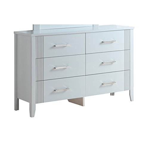 LYKE Home Franco Fluted Accent Dresser White White Finish (Accent Fluted)