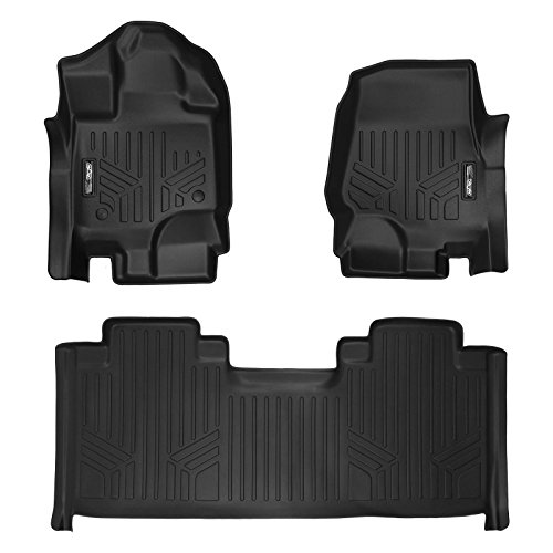 (SMARTLINER Floor Mats 2 Row Liner Set Black for 2015-2018 Ford F-150 SuperCab with 1st Row Bucket Seats)