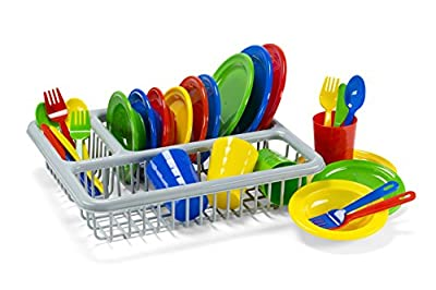 Durable Kids Play Dishes - Pretend Play Childrens Dish Set - 29 Piece with Drainer