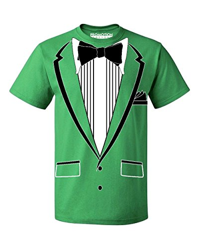 Promotion & Beyond Tuxedo (Black) with Pocket Square Ceremony Men's T-Shirt, XL, Green