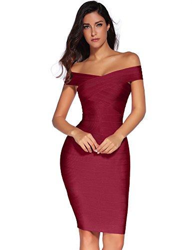 fbcd022ad9bf Meilun Women's Rayon Strap V-Neck Bandage Bodycon Party Dress (S, Wine)
