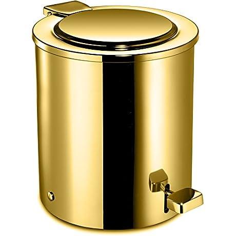 Round Step Pedal Wastebasket Trash Can For Bathroom Kitchen Office Brass Polished Gold
