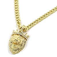 "Men's 14k Gold Tone Iced Crowned King Lion Pendant with 6mm 24"" Curb Cuban Chain"