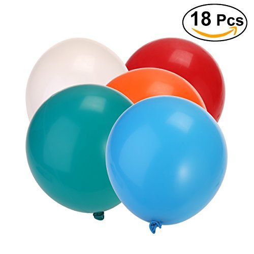 NUOLUX 18-inch Latex Balloons,Round Balloons for Party Decoration,18pcs(Mixed Color) ()