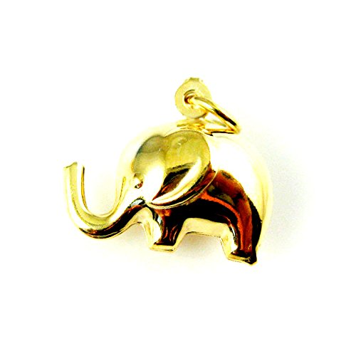 Gold Plated Charms, 18k Gold Plated Vermeil Sterling Silver Elephant Charm - Double-sided 3D Elephant 15mm