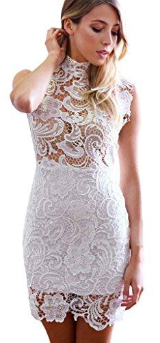 (ラボーグ)La Vogue ボディコン レディース ワンピースドレス キャバ 二次会 タイト着痩せ 膝丈 ハイネック 透けおしゃれミニ丈ワンピース ホワイト