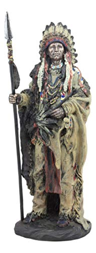 Ebros Native American Indian Warrior Chief In Animal Coat and Battle Headdress Statue Strength And Wisdom Leader Of The Tribe As Home Decor Sculpture Shelf Adornment Cultural Heritage History Figurine