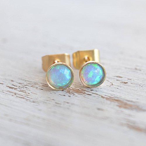 Women Post (Opal stud earrings Gold Filled 4mm light blue opal tiny posts for women)