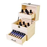 Wooden Essential Oil Box Multi-Tray Organizer - Holds 45 5-15ml Essential Oil Bottles & 14 10ml Roller Bottles (59 Total Essential Oils)
