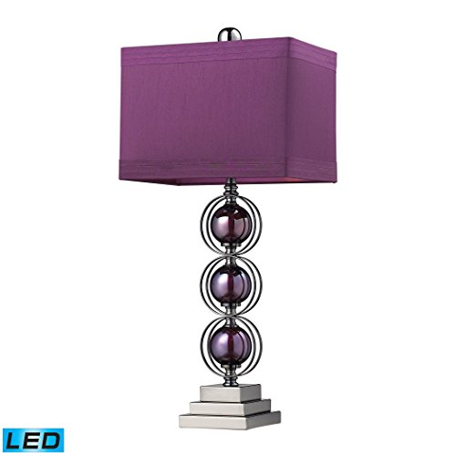 Manhattan Collection Alva Contemporary LED Table Lamp In Black Nickel And Purple Purple Contemporary Table Lamp