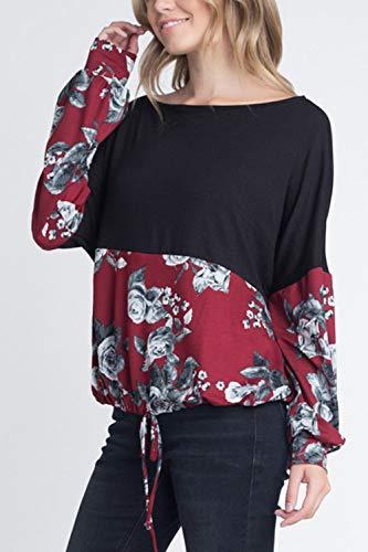 Floral Tops Cordon Longues Rouge Sweatshirts Manches Chemises Femmes xFITYn6n