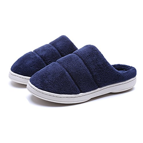 Women blue Navy Non Winter Slippers Fleece Cozy Men House Slip aqaUwrFP