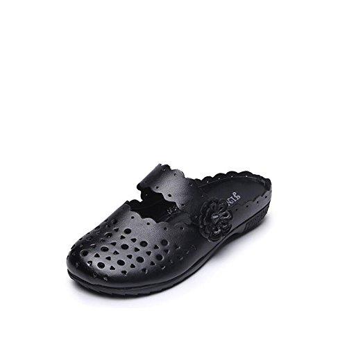 Zapatos de Mujer 2018 Nacional de Cuero Casual Zapatillas Baotou Mujer Verano Piso Inferior Suave Bottom Señoras Zapatos (Color : Gray, tamaño : 37) Black