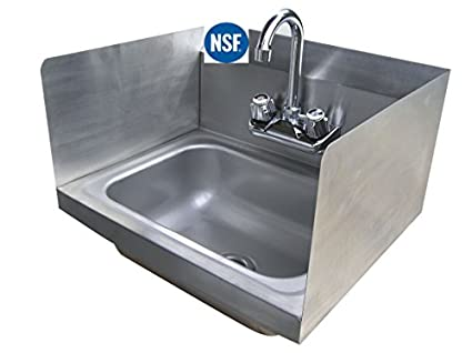 Amazon.com: Stainless Steel Hand Sink with Side Splash - NSF ...