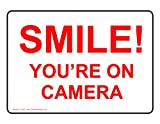 ComplianceSigns Vinyl Security Camera Label, 5 x 3.5 in. with English, 4-Pack White