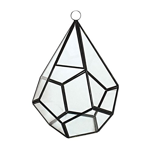 Glass Terrarium Succulent Planter and Candle Holder, Geometric Teardrop Shape, Iron Frame, 7