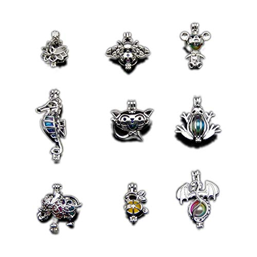 9 Pcs Silver Plated Mixture Cage Jewelry Making Supplies Copper Beads Cage Pendant Essential Oil Diffuser Trendy Locket Gift Silver Plated