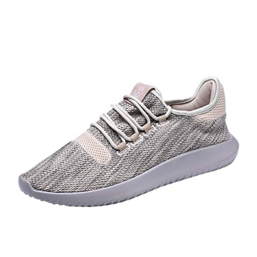 (SUNyongsh Men's Fashion Flats Breathable Non Slip Sports Shoes Athletic Walking Shoes Lace uop Running Shoes Sneakers Beige)