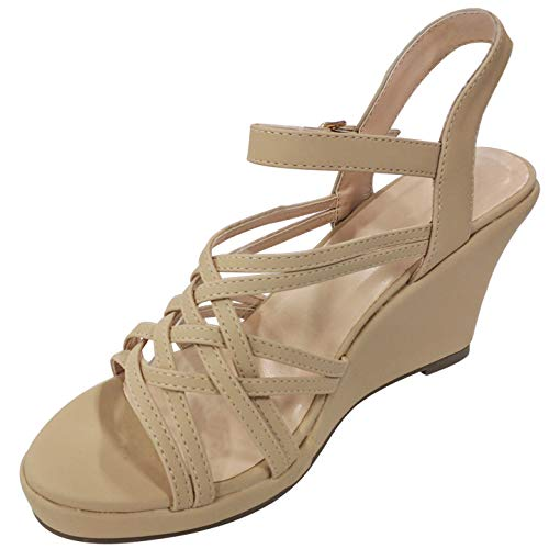 Best Prime Cool Trendy Block Open Heel Strappy Platform Wedge Sandal Shoe for Women Big Girls Ladies (Taupe Size 6)