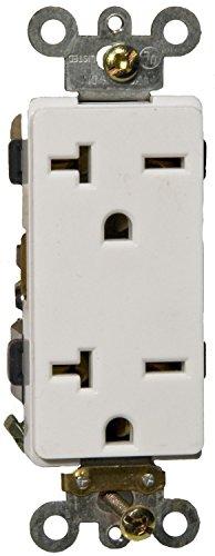 Morris 82221 Industrial Grade Decorative Duplex Receptacle, 20 Amp Current, 250V, White (2 Pack) - Decorative Duplex Receptacle
