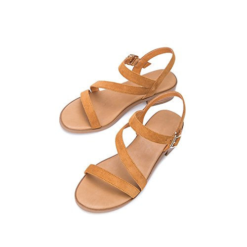Mujer albaricoque Zapatillas Ocasionales De Dhg Verano Tacones Color Dulces Tacón Sandalias Sólido Moda Altos Planas 36 Bajo Punta qXawwIf8n