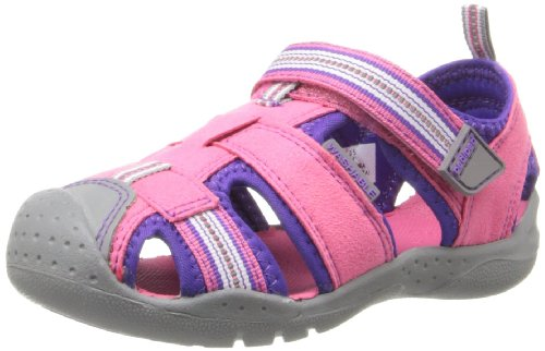 pediped Girls' Sahara Closed Toe Sandals, Pink (Fuschia Lavender), 11.5 -12 M UK Little ()