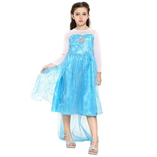 Girls Elsa Frozen Princess Dress: Halloween Costume: Ages 9-10 (Blue)