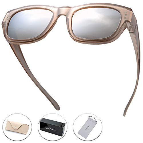 The Fresh High Definition Polarized Wrap Around Shield Sunglasses for Prescription Glasses - Gift Box Package (610-Champagne, Silver Mirror)