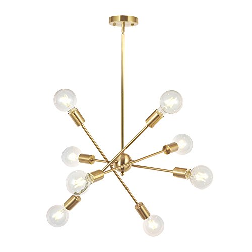 Vintage Brass Chandelier - 8 Lights Modern Sputnik Chandelier Lighting with Adjustable Arms Mid Century Pendant Light Vintage Industrial Farmhouse Ceiling Light Fixture Brushed Brass by BONLICHT