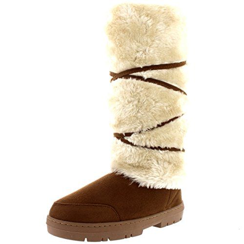 [Womens Tall Knee High Fixed Lace Wrap Winter Snow Rain Boots - 8 - TAN39 EA0416] (Brown Fur Boots)