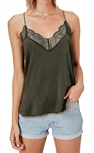 Women's Lace Cami Tank Top Racerback with Adjustable Spaghetti Strap (Large, Olive)