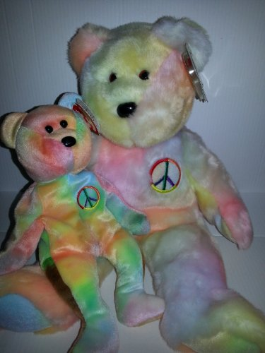 - Ty Beanie Baby Set of Two - Matching Beanie Baby and Buddy - Peace Bear