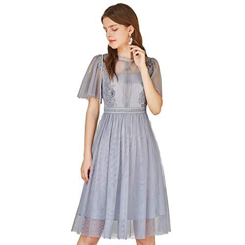 Woman Dress Dress Summer Dress Women's Lace ShortSleeved Mesh Skirt