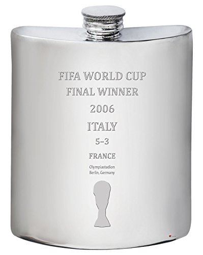 2006 Fifa World Cup Italy - Italy 2006 Fifa World Cup Winner 6oz Hip Flask Pewter