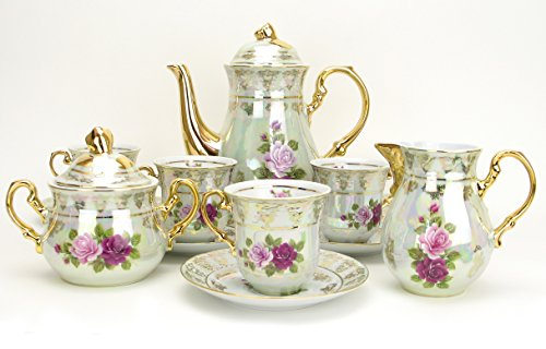 """Euro Porcelain 17-Pc. Vintage Pink & Red """"Roses"""" Tea Cup Coffee Set, White Pearlescent Floral Pattern with 24K Gold-Plated, Complete Service for 6, Original Czech Tableware"""