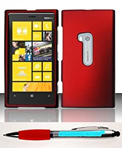 Accessory Factory(TM) Bundle (the item, 2in1 Stylus Point Pen) For Nokia Lumia 920 (AT&T) Rubberized Case Cover Protector - Red