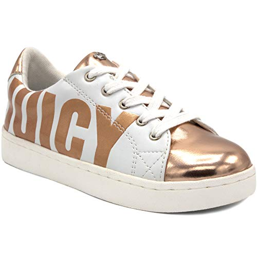 Juicy Couture JC Berkeley Girls Fashion Slip-On Sneaker White/Rose Gold, 4 Big - Couture Shoes
