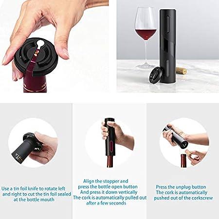 Sacacorchos Electrico, Abrelatas Electrico Profesional, Abridor Botellas de Vino con Cortador de Papel, Vertedor, Tapón de Vino Silicona de Vacío, Bomba de Vació, el regalo para los amantes del vino