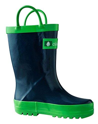 Oakiwear Kids Waterproof Rubber Rain Boots With Easy-On Handles, Navy Blue, 4T US Toddler