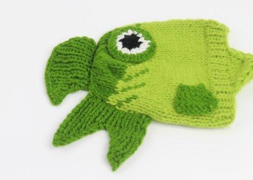 Newborn Baby Girl Boy Crochet Green Fish Beanie Hat Photo Props Costume 0-3 Month
