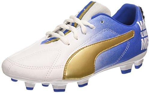 Puma MB 9 FG Jr - zapatillas de fútbol de material sintético Niños^Niñas blanco - Weiß (white-team gold-Team Power Blue 01)
