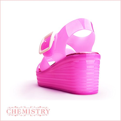 Chemistry Women's Jelly Platform Wedge Heel Sandals Adjustable Strap Upper Low Top Shoes,Pink,10 B(M) US by Chemistry (Image #2)