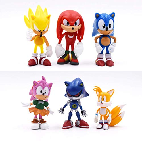 LQT Ltd 6Pcs/Set 7cm So-nic Figures Toy PVC Toy So-nic Shadow Tails Characters Figure Toys for Children Animals Toys -