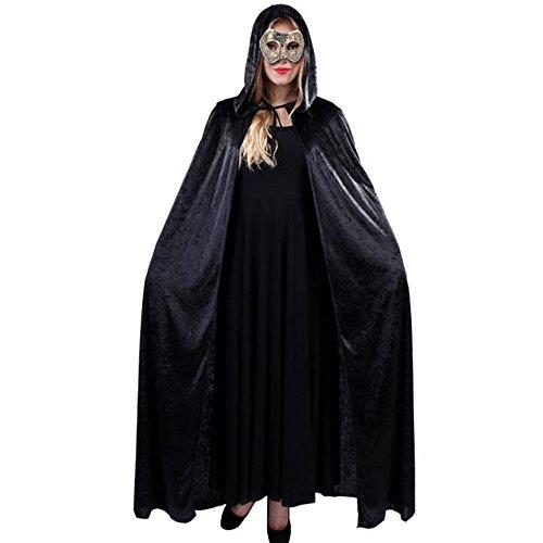 Costumes Velour Witch (Girls' Black Velvet Full Length Velvet Cape Halloween Props Cloak With)