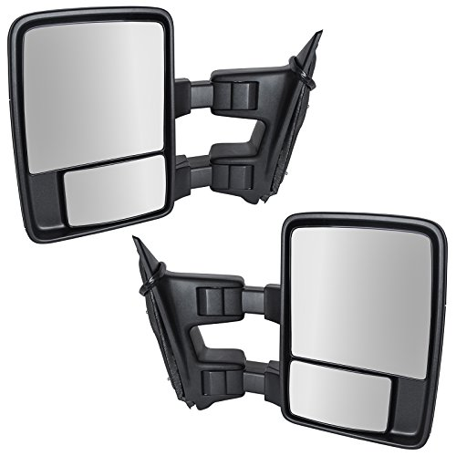 Trail Ridge Power Heated Telescoping Smoked LED Turn Signal Textured Black Towing Mirror Pair for Ford Excursion F250 F350 F450